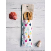 Zero Waste Cutlery Pouch Pineapple Print (straws and bamboo cutlery included) - Cutlery Gifts