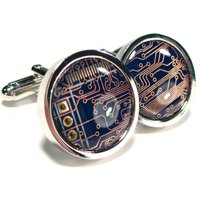Circuit Board Cufflinks, Rhodium Plated, Steampunk Cufflinks, Mens Gift, Computer Chip, Electronic, Accessory, Eco, Recycled, Motherboard. - Electronic Gifts