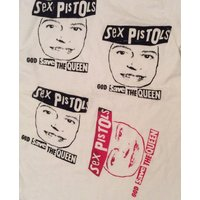 Sex Pistols vintage Tshirt  God Save The Queen   rare multi face print Punk Tee  Sm36 - Sex Pistols Gifts