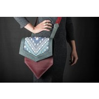 Hexagon Handbag: Plum  Green Leather with Geometric Fabric Insert - Handbags Gifts