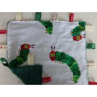 The Very Hungry Caterpillar Cotton Fabric/Dark Green Minky Dimpled Plush Baby Ribbon Taggie Comfort Blanket - The Very Hungry Caterpillar Gifts