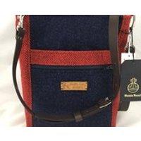 Handmade Harris Tweed cross body bag, red and navy Tweed bag, Scottish bag, ladies tweed bag, travel bag, ipad bag - Ipad Gifts