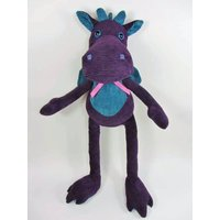 Handmade Soft Toy. Large Dragon. Stuffed Animal.Childrens Toy.Unique Toy.Purple Dragon.Corduroy.Christmas Present.Christmas Gift.Made in UK - Soft Toy Gifts