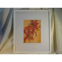 Rev Canon Jim Whitlock Newlyn Cornish Artist Floral Watercolour Painting Red Bougainvillea Malta 15 Mediterranean Summer Floral Art - Artist Gifts
