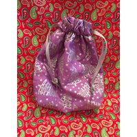 sparkly lilac and silver gift bag , silver trees on gift bag , christmas silver tree bag , silver and lilac - Lilac Gifts