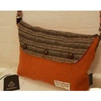 HARRIS TWEED Hand Finished OneOff Shoulder Bag Orange Twill Brown Stripe Pure Wool Floral Cotton Lawn Lined Country Classic Gift B11 - Shoulder Bag Gifts