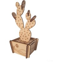 Build Your Own Prickly Pear Cactus Kit, Laser Cut Wood Model, Wooden Plant, Medite MDF - Build Your Own Gifts