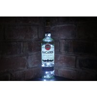 Bacardi Rum Liquor Bottle Lamp 20 LED Lights  Upcycled  Booze Lights  Man Cave  Bar  Rum Drinkers Gift  Gifts For Him - Bacardi Gifts