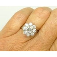 Vintage Diamond cluster engagement ring 18ct18K white gold Antique Estate statement halo flower ring 2.00ct c1970sFREE SHIPVideo link - Engagement Ring Gifts