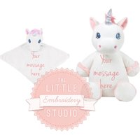 Personalised white unicorn soft toy and comforter gift set, embroidered new baby gift, gift for child, gift for her, present for girl uk - Soft Toy Gifts