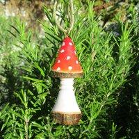 Toadstool tree decor, woodland Christmas decoration, handmade tree decoration, amanita mushroom, wooden xmas tree decoration, quirky festive - Mushroom Gifts