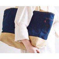 BEACH Large /Shoulder bag and Handbag/ with Burlap inside and outside - Shoulder Bag Gifts