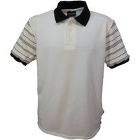 Mens polo shirt with flat knitted striped sleeves, white  black stripes.   Made in England.  J506 - Polo Gifts