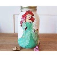 Hand made painted kilner mason jar Ariel mermaid princess make up brush holder money  savings holiday fund bedroom gift for her Disney - Money Gifts