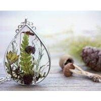 Mushroom Necklace Fern Jewelry Babys Breath Gardening Gift Woodland Pendant Moss Dried Flower Terrarium Eco Friendly Resin FREE SHIPPING - Mushroom Gifts