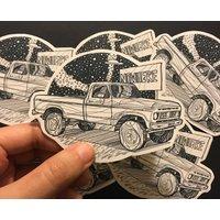 Truck illustration sticker, laptop decal, wall art, black car, notebook sticker, car drawing, line drawing, bedroom decor, handmade sticker - Computers Gifts