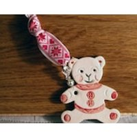 Christmas Teddy Bear Pottery Decoration, handmade in my Sussex Pottery. A gift for Christmas, Birthday, Baby or just to make someone smile. - Teddy Gifts