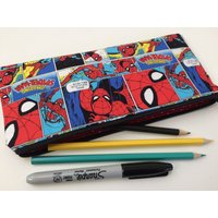 Spider Man Comic Fabric Pencil Case  Pencil Pouch  Childrens Pencil Case  Zip Up Pouch  School Stationary Organiser  Back to School - Spider Man Gifts