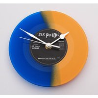 The SEX PISTOLS Clock made from a recycled 7 single, Anarchy in the UK, Blue and Orange Coloured Colored vinyl Punk Rock Clock gift - Sex Pistols Gifts
