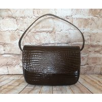 Vintage Handbag Purse By Jane Shilton Brown Croc Patent Real Leather Boho Chic Bohemian Made In England c1980s - Handbags Gifts