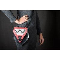 Arrowhead Handbag: Black  Pink Leather with Diamond Fabric Insert - Handbags Gifts