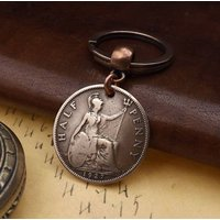 Genuine 1927 British Hapenny Half Penny Old Vintage Coin Keychain 90th Birthday Gift - 90th Birthday Gifts