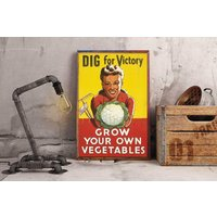 War Poster, Dig for Victory, Vintage, Poster, Grow your own Vegetables, WWII, Advert, ArtHangar, Gicle, Print, Posters, Retro - Grow Your Own Gifts