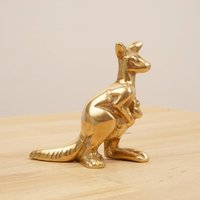 Kangaroo sculpture / statue / figurine  Vintage solid brass  Mother with a child - Kangaroo Gifts