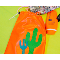 Wyatt and Jack Recycled Orange Bouncy Castle Drawstring Waterproof Travel Bikini  Swimwear Pouch  Bag with Green Cactus Detailing - Bouncy Gifts