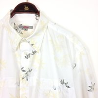 Vintage Mens LEAF Print Shirt  White Cotton Floral Pattern Short Sleeve Button Up Hawaiian Hawaii   Large XL  by S. Oliver - Hawaiian Gifts