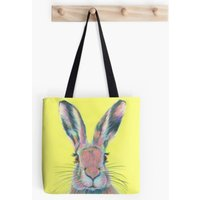 Yellow  Hare  Animal Lover  Tote Bag  Handbag  Shopping Bag  Shoulder Bag  Cotton Canvas  Kirstin Wood Artist  Original Art - Artist Gifts