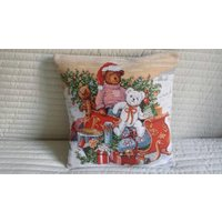 Christmas cover Cute Teddy Bears, tapestry cushion cover, Russian tapestry,Christmas home decor, Christmas gifts, teddy bear, Christmas bear - Teddy Bears Gifts