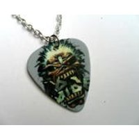 Handmade IRON MAIDEN Guitar Pick // Plectrum Silver // Leather Necklace - Iron Maiden Gifts