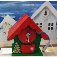 Christmas Money Box Fairy Houses. OOAK. Red, Green or Red  green. Or made to order. Sparkling - Money Gifts