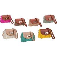 Ladies Retro Wicker Bag Handbag Shoulder Bag With Floral Linen Insert - Shoulder Bag Gifts