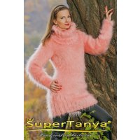 Fuzzy hand knitted pink mohair sweater dress by SuperTanya - Seek Gifts
