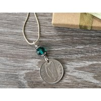 Irish sixpence necklace, 70th birthday gift for her, lucky Celtic 1948 coin, Ireland anniversary, retirement present woman, mum, aunt sister - 70th Birthday Gifts
