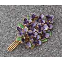 Pretty VIOLET FLOWERS Antique BROOCH...Cold Painted Enamel Bunch Of Violets...Vintage Figural Floral Jewellery..Suffragette...Gardening Gift - Gardening Gifts