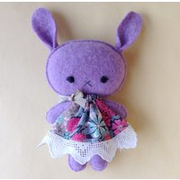Cute kawaii cashmere bunny gift soft toy in Liberty print dress - Soft Toy Gifts