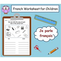 FRENCH Writing Language Printable / French Classroom Kids Activity / Teacher Printable  Kids School Worksheet/Classroom Worksheet Printable - Activity Gifts