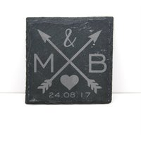 Engraved Slate Coaster  Personalized Love Arrows  Wedding/Engagement/Birthday Gift - Seek Gifts