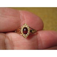 Exquisite Antique Art Nouveau 14 Carat Gold Pearl Red Stone Engagement Ring. - Engagement Ring Gifts