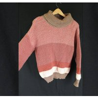 Vintage 1990s Pink and Brown Striped Polo Neck Jumper   Size 12UK - Polo Gifts