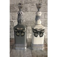 Altered butterfly bottles, Butterly decoration, Butterfly gift, Metallic silver, Home warming gift - Warming Gifts