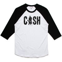 Unisex Johnny Cash Man in black Baseball TShirt with vintage style print - Johnny Cash Gifts