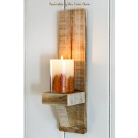 Rustic Wall Sconces Candles Country Decor Reclaimed Wood Gothic Sconce Mothers Day Gift - Seek Gifts