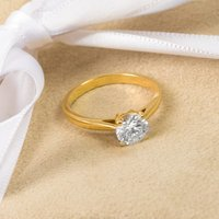 18ct Yellow Gold 1.00ct Certified Diamond Solitaire Engagement Ring - Engagement Ring Gifts