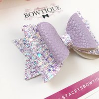 Lilac Glitter Bow, Lilac Hair Bow, Lilac Headband, Mixed Glitter Bow, Faux Leather Bow, Baby Headband, Newborn Headband, Hair Bow - Lilac Gifts