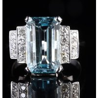 Aquamarine Diamond Engagement Ring 18ct Gold6ct Aquamarine - Engagement Ring Gifts