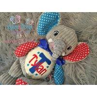 Elephant Teddy Bear, Cubby teddy bear, Embroidered Baby Teddy, New baby gift, Harlequin Cubbies, Personalised teddy bears - Teddy Bears Gifts